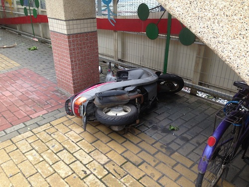 Taipei Taiwan overturned scooter
