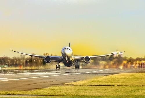 jet landing at airport