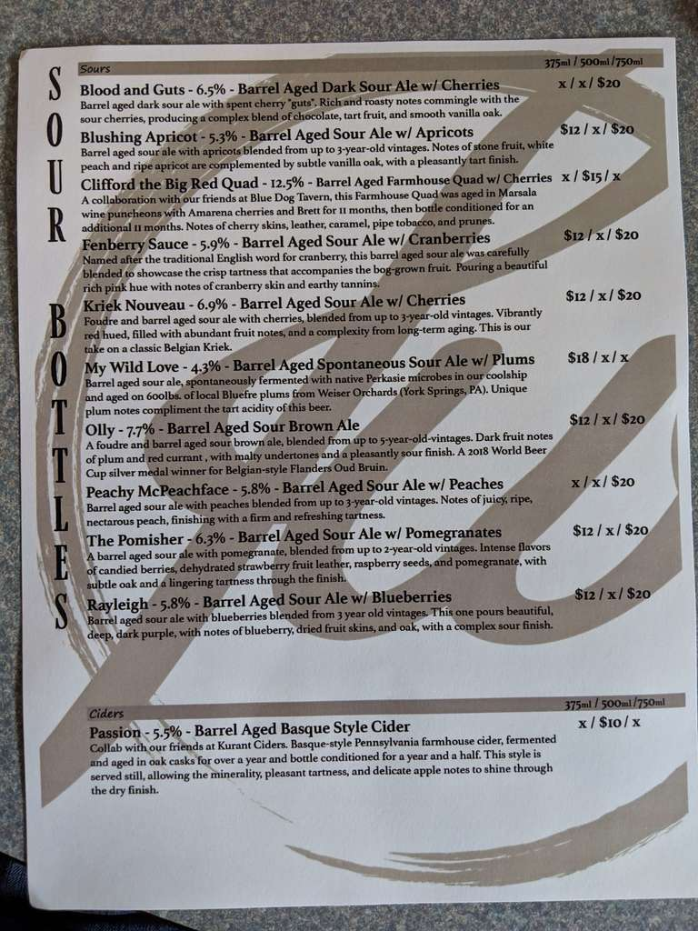 menu of sour beer